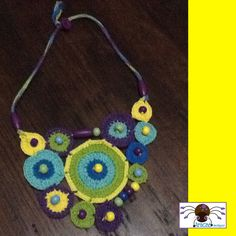 Crochet necklace with wooden beads, handmade.