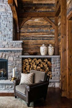 I like this idea of having a firewood hut next to the fire place. This could be done as part of build-in cabinets if you decide to do that