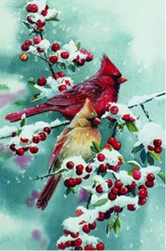 Cardinals and Berries Winter Mini Garden Flag