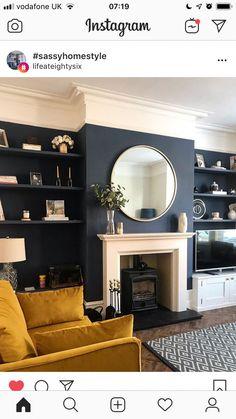 Navy Living Rooms, Living Room Grey, Home Living Room, Dark Blue Dining Room, Dark Blue Rooms, Living Room Color Schemes, Living Room Designs, Log Burner Living Room, Victorian Living Room