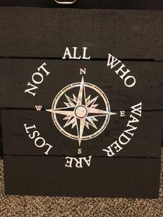 Not all who wander wall Decor on Mercari Dark Stains, Compass Tattoo, Wander, Wall Decor, Homemade, Wood, Products, Dark Spots, Room Wall Decor