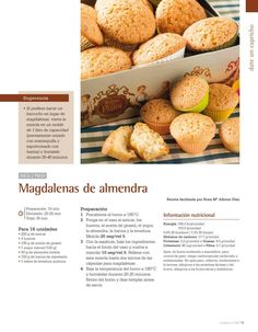 Magdalenas de almendra Thermomix Cupcakes, Cake Pops, Make It Simple, Peach, Fruit, Vegetables, Food, Sweet Desserts, Almonds
