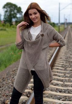 Sweter Damski Długi Brąz