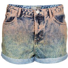 TOPSHOP MOTO Dip Dye Peach Hotpants ($56) ❤ liked on Polyvore