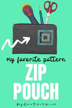 This is my very favorite zip pouch! It is a fun sewing project and makes a great DIY gift. This zipper bag is great to use as a pencil pouch, first aid kit, makeup bag, or sewing kit. Download my FREE pattern with step by step instructions. Diy Zip Pouches, Cute Pencil Pouches, Easy Sewing Projects, Fun Projects, Sewing Hacks, Sewing Kit, Sewing Basics, Pouch Pattern, Free Pattern
