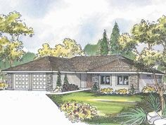 Home Plan HOMEPW00869 - 1719 Square Foot, 3 Bedroom 2 Bathroom Ranch Home with 2 Garage Bays | Homeplans.com