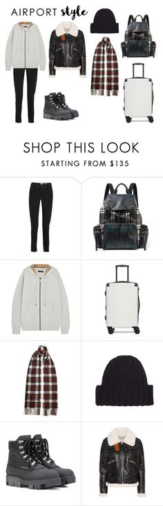"""Wanderlust Wonderful: Airport Style"" by mariana-mg ❤ liked on Polyvore featuring RE/DONE, Burberry, CalPak, Bottega Veneta, Acne Studios and Coach"