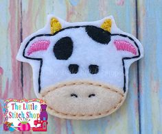 Cow Head Feltie Embroidery Design by Thelittlestitchshop on Etsy