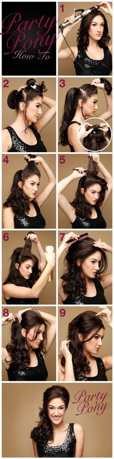Party Pony Hair Tutorial- cute look, thinking of skipping some steps with a velcro bumpit