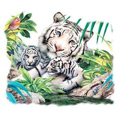 WHITE TIGER CUB TATTOO | Mom and Cubs White Tiger Family in Jungle White T Shirt $9 95 | eBay
