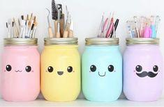 kawaii DIY Stifthalter - New Home Decor Pot Mason Diy, Mason Jars, Mason Jar Crafts, Diy Tumblr, Kawaii Diy, Kawaii Room, Idee Diy, Cute Crafts, Cute Diys