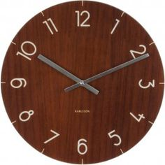 Dark Wood Effect Glass Wall Clock 40cm - Available in other colours are sizes!