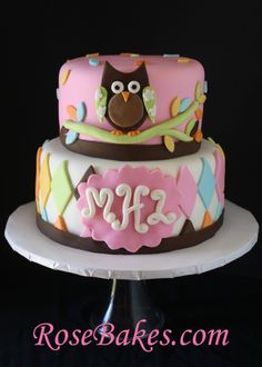 """""""Whoo Loves You?"""" Owl Baby Shower Cake… take 2!"""