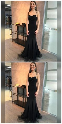 Prom Dresses Elegant, Mermaid Spaghetti Straps Sweep Train Black Stretch Satin Prom Dress, Mermaid prom dresses, two piece prom gowns, sequin prom dresses & you name it - our 2020 prom collection has everything you need! Prom Dresses For Teens, Unique Prom Dresses, Long Prom Gowns, Black Prom Dresses, Tulle Prom Dress, Popular Dresses, Prom Dresses Online, Mermaid Prom Dresses, Formal Evening Dresses