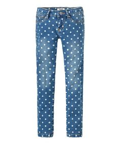 Another great find on #zulily! Blue Polka Dot Skinny Jeans - Girls #zulilyfinds