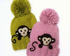 Knitting Patterns Kids Winter Hat Monkey Hat Pom Pom Hat Knit Hat Knitted by Kids Winter Hats, Kids Hats, Warm Winter Hats, Funny Hats, Cute Hats, Crochet Monkey, Crochet Baby, Hat Crochet, Beanie Hats