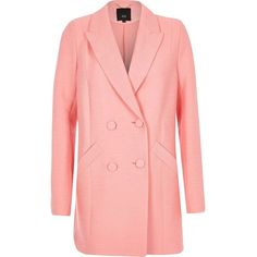 River Island Pink textured double breasted blazer (£105) ❤ liked on Polyvore featuring outerwear, jackets, blazers, blazer, coats / jackets, pink, women, tall blazer, red double breasted jacket and long sleeve blazer