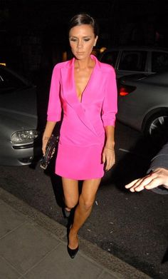 Where can I get Victoria Beckham's pink jacket dress? Dress – Antonio Berardi Dress  Purse – Chanel CC Punk Clutch