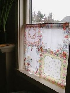 Cafe bath or bedroom curtain made of vintage handkerchiefs hankies for cottage chic style home decor look; upcycle, recycle, salvage, diy, repurpose!  For ideas and goods shop at Estate ReSale & ReDesign, Bonita Springs, FL: