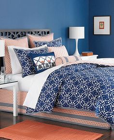 Martha Stewart Collection Bedding, Ringtrace 6 Piece Queen Duvet Cover Set - Bed in a Bag - Bed & Bath - Macy's Duvet Covers, Duvet Cover Sets, Home, California King Duvet Cover, Comforter Sets, Bedding Sets, Blue Bedroom, Coral Bedroom, Bedroom Decor