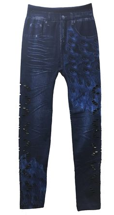 Just One Women's Soft Lined Fashion Denim Leggings - Peacock Print at Amazon Women's Clothing store: