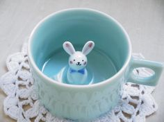 rabbit cup/Blue ceramic mug/Handmade mug/coffee cup/hidden animal mug -unique Surprise Mug
