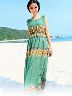 Sweet Light Green Floral Print Chiffon Scoop Neck Maxi Dress - Milanoo.com