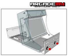 Borne d'arcade Bartop 2 joueurs position ouverte : le fond et le control panel sont monté sur charnière pour une accessibilité aux éléments internes maximum !!