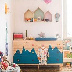 Who doesn't love a good Ikea hack? With Ikea furniture, the possibilities for creating a bespoke piece are endless and the best part is, it can all be done on a budget. The only limit is your imagination. Chest of drawers are really handy in a kids room Ikea Hack Kids Bedroom, Ikea Kids Room, Kids Room Paint, Painting Kids Rooms, Bedroom Hacks, Cama Ikea Kura, Ikea Stuva, Ikea Malm, Baby Zimmer Ikea