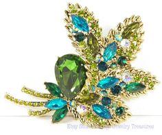 Olivine & Blue Rhinestone Pin