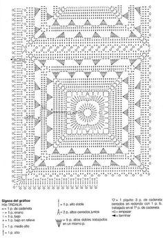 Page 2 of 2 * Square Designs Crochet Mat, Crochet Motifs, Crochet Square Patterns, Crochet Blocks, Manta Crochet, Crochet Squares, Crochet Home, Crochet Granny, Crochet Doilies