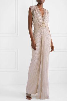 Jenny Packham Amelie Draped Embellished Tulle Gown In Beige Jenny Packham, Jimmy Choo, Evening Dresses, Formal Dresses, Summer Gowns, Embellished Gown, Bridesmaid Dresses, Wedding Dresses, Wedding Outfits