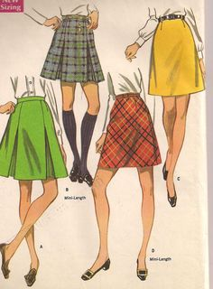 1960s  Skirt in Two Versions and Two Lengths  by PatternsOfYore, $5.00