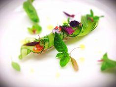 tartar de bar, concomble, basil - The ChefsTalk Project Think Food, Love Food, Wine Recipes, Gourmet Recipes, Modernist Cuisine, Plate Presentation, Food Decoration, Molecular Gastronomy, Michelin Star Food