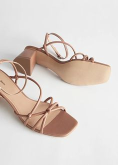 Strappy leather heeled sandals with multiple knots, a buckled ankle-strap and a squared-toe finish. Brown Sandals, Strappy Sandals, Shoes Sandals, Heeled Sandals, Brown Heels, Cute Shoes, Me Too Shoes, Aesthetic Shoes, Fashion Heels