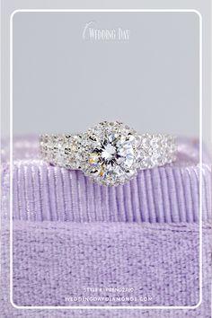 Double Row Round Cut Diamond Halo Engagement Ring