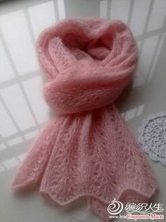 Knitting Patterns Beanie Found such a scarf. really liked it, but knit knitting m … Crochet Flower Scarf, Lace Scarf, Crochet Shawl, Knit Crochet, Lace Knitting, Knitting Stitches, Knitting Designs, Knitting Patterns, Hand Knit Scarf