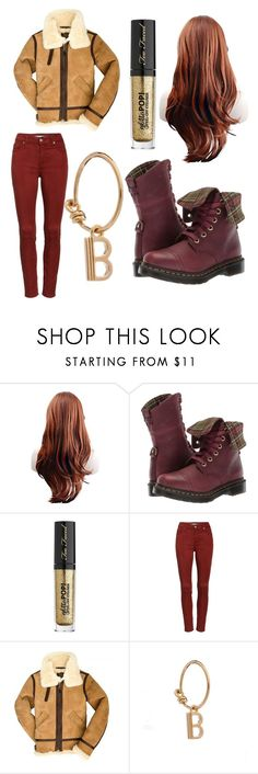 """""""Letter B"""" by zebratx88 ❤ liked on Polyvore featuring Dr. Martens, Too Faced Cosmetics, 7 For All Mankind and Rachel Jackson"""