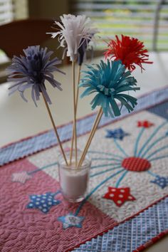 fourth of July decoration. Looks like little fireworks made from tissue paper. So cute and inexpensive. Fourth Of July Food, 4th Of July Celebration, 4th Of July Party, July 4th, Fireworks Craft, Indoor Fireworks, 4th Of July Decorations, Picnic Decorations, Patriotic Party