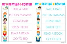 Printable Bedtime Routine Charts - Free printable kids bedtime routine charts to…
