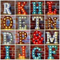 "Metal LED 12"" Marquee Letter Lights Vintage Circus Style Alphabet Light Up Sign"