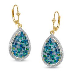 Teardrop-Shaped Lab-Created Mosaic Opal Drop Earrings in 10K Gold