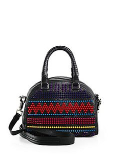 Christian+Louboutin Multicolor+Studded+Leather+Bowling+Satchel