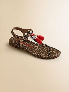 Juicy Couture Girl's Leopard Tasseled Jelly Sandals