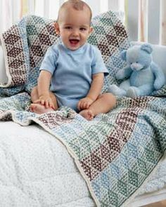 Multicolored Diamond Blanket - Free Knitted Pattern - (favecrafts)