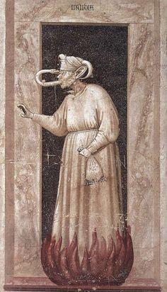 Nijd, 1 van 7 ondeugden, Cappella Scrovegni, Padua, Giotto di Bondone (1267-1337)