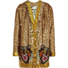 Gucci Reversible appliquéd sequined satin cardigan (37.345 RON) ❤ liked on Polyvore featuring tops, cardigans, sweaters, coats, jackets, outerwear, gold, metallic top, multi color cardigan and crochet cardigans