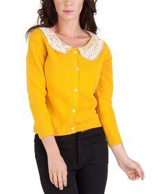 Gold Lace-Collar Cardigan