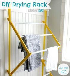 DIY Hanging Drying Rack from https://sawdustgirl.com