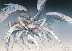 Small girl with multiple wings, art done by Demizu Posuka